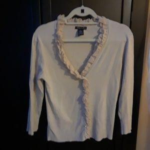 Audrey & Grace Silk Blend Ruffle Cardigan M